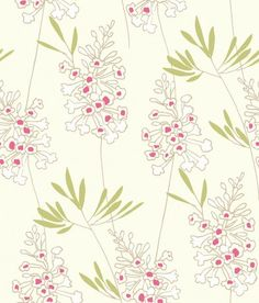 Foxglove (W0046/03) - Clarke & Clarke Wallpapers - A contemporary stylised Foxglove floral motif. Showing in raspberry and green on a off white background - more colours are available. Please request a sample for true colour match. Paste-the-wall product.