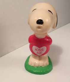 Vintage #Snoopy PVC Toy Figurine Kissing in KISS ME Red Heart Tee #Peanuts Collectible Gift Summer Love Fun Whimsical 1970's Toys Retro Beagle available from SoaringHawkVintage on #Etsy now!
