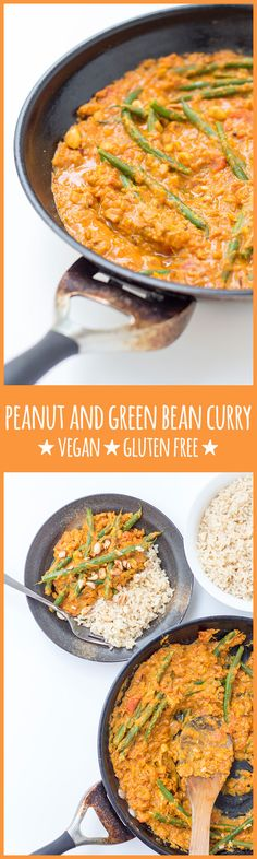 This spicy peanut and green bean curry is incredibly tasty and satisfying. Inspired by African peanut stew, this is one of those recipes whose whole is greater than the sum of its parts. #vegan #vegetarian #dairyfree #glutenfree #peanuts #peanutbutter #tomatoes #greenbeans #curry #spicy #easy #recipes #healthy #plantbased #wholefoods