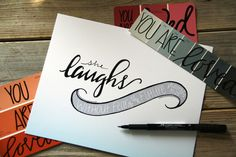 She Laughs, Proverbs, Scripture, Hand Lettered, Hand Drawn Print, Gift by HerHazelEyesStudio on Etsy