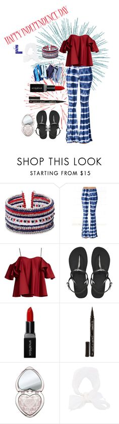 """God Bless The U.S.A."" by wedontneednoeducation ❤ liked on Polyvore featuring LULUS, Anna October, Havaianas, Smashbox, Smith & Cult, Too Faced Cosmetics and Le Chapeau by Alakazia"