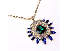 #Bohemian #Blue Crystal Long Sweater #Necklace