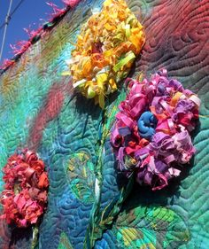 Quilted Wall Art  Blooming Shredded Flowers by Diane Lapacek