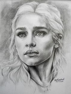 Dessin Daenerys Targaryen - Game of thrones - Mère des dragons - Noir et blanc - Vendu avec cadre et sous verre - Portrait Emilia Clarke -