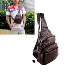 Men's Genuine Leather Casual Backpack Shoulder Unbalance Sling Chest Sports  Bag | eBay.see more