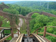 Beast roller coaster - Kings Island, Cincinnati, Ohio. The Beast is the world's longest wooden coaster, at 7,539 feet.