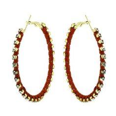 Boucles d'oreilles - Anneaux en métal, cristal, corde rouge: ShalinCraft: Amazon.fr: Bijoux