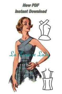 Repro Vintage Pattern Halter Top 50s No 6 Repro por laprairielady