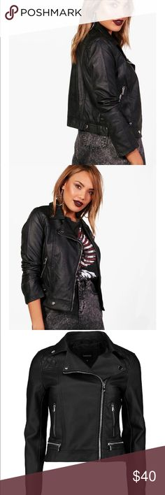 "Vegan Leather Moto Jacket Breathe life into your new season layering with the latest coats and jackets from boohoo. Supersize your silhouette in a padded jacket, stick to sporty styling with a bomber, or protect yourself from the elements in a plastic raincoat. For a more luxe layering piece, faux fur coats come in fondant shades and longline duster coats give your look an androgynous edge.   Fabric:100% PU.Flat Measurements:Not Worn:Total Length:Top:47.5cm/18.5"".(Measured on UK Size…"