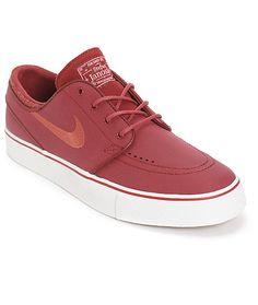 0e65fb3dccc Nike SB Zoom Stefan Janoski Team Red   Cedar Leather Skate Shoes