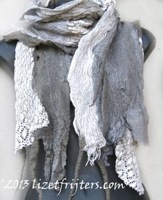 Grey Long Nuno Felt Scarf with Vintage Doilies by lizetfrijters, $95.00