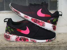 60cad454f8a2 Custom Nike Roshe Run- Black Floral Nike Roshe Runs with Paint Soles    Swoosh-