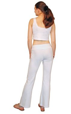 Women's fitclassic roll waist style yoga pants with a slightly flared bootleg. Made in soft stretchy 6.5 oz. 92% cotton/8% spandex fabric.