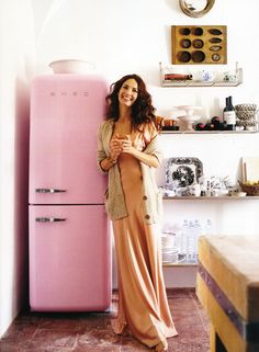 pink. I love an-buttoned look in the kitchen. something has to be a little quirky, a little not perfect, a little crooked...