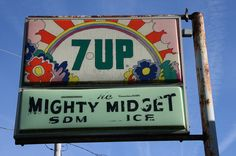 Vintage Allegan Michigan sign, The Mighty Midget Store Life In The 70s, Pepsi, Coke, The Mitten State, Rainbow Logo, Soda Fountain, Best Food Ever, Dr Pepper, Water Tower