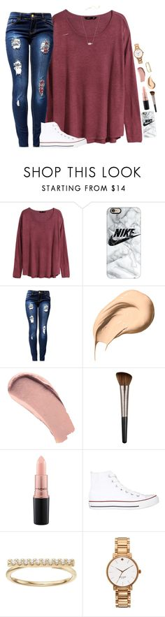 """So it's raining in February"" by halamasa ❤ liked on Polyvore featuring H&M, Casetify, Bobbi Brown Cosmetics, Burberry, Urban Decay, MAC Cosmetics, Converse, LC Lauren Conrad, Kate Spade and Kendra Scott"