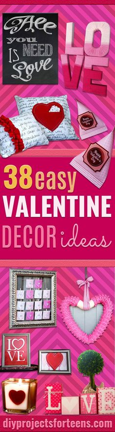 DIY Valentine Decor Ideas - Cute and Easy Home Decor Projects for Valentines Day Decorating - Best Homemade Valentine Decorations for Home, Tables and Party, Kids and Outdoor - Romantic Vintage Ideas - Cheap Dollar Store and Dollar Tree Crafts http://diyprojectsforteens.com/diy-valentine-decor-ideas