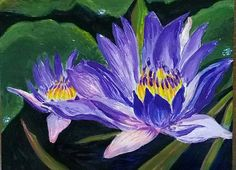 Blue nymphaea 18x24 cm Small original acrylic painting Lilac