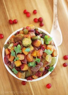 The Comfort of Cooking » Roasted Butternut Squash and Brussels Sprouts with Cranberries, Apples and Onions