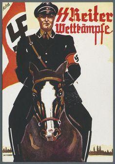 """SS Reiter Wettkämpfe"""", Propagandakarte (Reiter auf Pferd mit Fahne und Stadtkulisse im Hintergrund)"""
