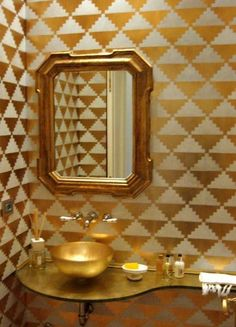 Wall Stencil Geometric Triangles Chevron Allover Pattern Wall Room Decor Made by OMG Stencils Home Improvements Color Paintings 0245 Leaf Stencil, Stencils, Triangles, Gold Powder, Gold Bathroom, Small Bathroom, Wall Finishes, Wall Patterns, Decoration Table