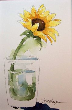 Sunflower in Glass Watercolor Painting by RoseAnnHayes on Etsy