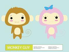 Vector Cute Cartoon Monkey Guy