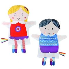 This reversible puppet is two friends in one, teaching baby that faces still exist even when they cannot be seen. The friendly characters encourage early communication, help to develop social skills and confi dence, with rainbow ribbons and fascinating patterns for visual stimulation.