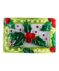 Love this Festive Holly Serving Platter by LS Arts on #zulily! #zulilyfinds