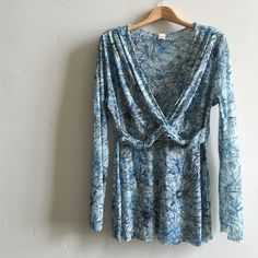2X🎉HP🎉 Anthropologie Sweet Pea Top Beautiful royal blue, charcoal and cream flower print mesh top.  Features flattering wrap design.  In excellent condition. Anthropologie Tops