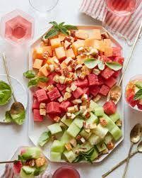 Melon Halloumi Salad - What's Gaby Cooking Fried Halloumi, Basil Recipes, Milk Recipes, Greek Recipes, Healthy Salad Recipes, Vegetarian Recipes, Vegetarian Lunch, Healthy Lunches, Recipes