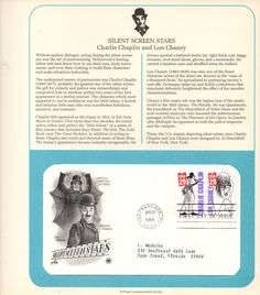 Vintage USPS Collectible Stamps, Silent Screen, Charlie Chapli, Lon Chaney, Postal Commemorative Society, 1st Day of Issue, 29 cent Stamp, by FunFloridaVintage on Etsy