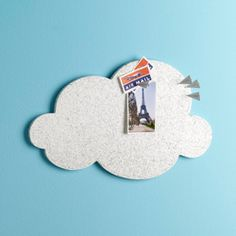Price: $20.00    Your head may be in the clouds, but your notes won't with the Cloud Cork Board.    Paint your wall sky-blue and cover it with clouds for an office look that's fun and functional.  nursery kids room boys room  Both mounting tape and mounting hangers are included.