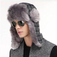 Warm plaid bomber hat for men winter Ushanka hats with ear flaps e001a0e7026