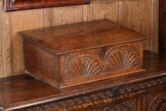 century carved oak writing slope, with the front board carved with two lunettes. Origin: England Date: Circa 1660 Dimensions: Width 27 x Height 10 x Depth 18 Antique Wooden Boxes, Wood Boxes, Gothic Furniture, Antique Furniture, Hope Chest, 16th Century, Art Decor, Medieval, Bible