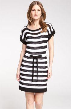 Nanette Lepore 'Carousel' Striped Short Sleeve Pointelle Sweater Dress   Nordstrom
