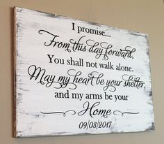Rustic Wedding Vow Wood Sign, From This Day Forward, Carved Wood Sign, I Promise Wood Sign, Wood Wedding Sign