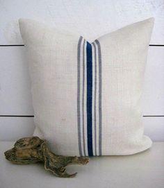 Burlap Pillow / Grainsack Pillow / Nautical by HomesteadBurlaps