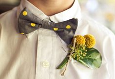 I like that the color scheme reflects your colors, that this photo has the clean white with the pop of color, and is a little bit unique with the bow tie. Yellow Bow Tie, Polka Dot Bow Tie, Gray Yellow, Polka Dots, Wedding Trends, Wedding Styles, Real Weddings, Bow Ties, Polka Dot Wedding