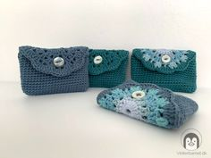 En sød og praktisk mini blomster pung - Vinterbarnet Free Crochet Bag, Knit Crochet, Small Bags, Diy And Crafts, Baby Shoes, Coin Purse, Weaving, Beanie, Wallet