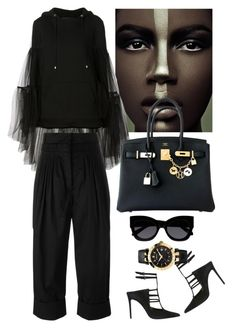 """""""Nicopanda Ruffled Tulle Layer Hoodie"""" by thestyleartisan ❤ liked on Polyvore featuring Nicopanda, Barbara Bui, J.W. Anderson, Hermès, Karen Walker and Versace"""