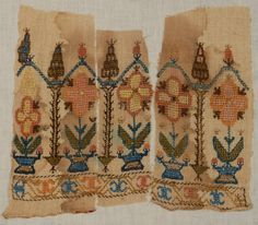 Silk on cotton and linen with metallic foil, including towel ends, bands with drawn work, etc. on Oct 2014 Cross Stitch Embroidery, Machine Embroidery, Textiles, Greek Islands, Needlework, Bohemian Rug, Auction, Elsa, Antiques