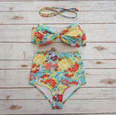 Bow Bikini High Waisted Swimsuit - Vintage Style Retro Pin-up Swimwear - Pretty…