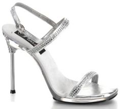 Pleaser Women's Chic 17 M US. The Chic sandal from Pleaser is all about sass appeal. It features rhinestone detailing that sparkles at every turn, while the buckled ankle strap offers a customizable fit and the stiletto heel adds sultry height. Sexy High Heels, Types Of High Heels, Silver High Heels, Silver Sandals, High Heels Stilettos, Strappy Heels, Stiletto Heels, Metallic Heels, Sandal Heels