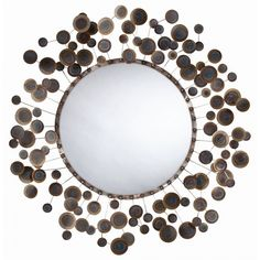 Arteriors Kensey Abstract Iron Mirror on sale. Round abstract wall mirror features iron frame with spokes adorned with randomly placed round disks in a burnt metal finish. Mirror Wall Art, Floor Mirror, Mirror Mirror, Framed Mirrors, Metal Mirror, Mirror Ideas, Mirror Room, Decorative Mirrors, Decorative Accents
