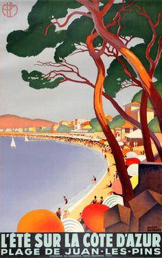 CANNES COTE D/'AZUR Vintage French Travel Poster 1930/'s Art Deco A3 Print