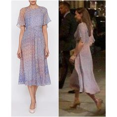 Kate and William were spotted leaving a London restaurant late August last year. Kate was wearing this beautifully light flowing 'Madison' dress by her go to brand, LK Bennett. A perfect dress for a warm summer night.