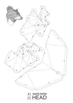Cabeza de papel impresión mapache de plantilla por WastePaperHead