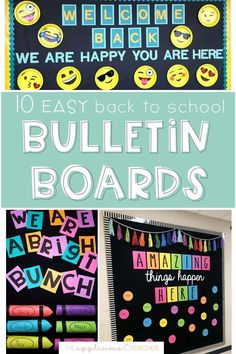 No time to prep your boards for back to school? These 10 simple bulletin board ideas are perfect for back to school and require very little effort! TheAppliciousTeacher.com Easy Bulletin Boards, Elementary Bulletin Boards, Kindergarten Bulletin Boards, Teacher Bulletin Boards, Back To School Bulletin Boards, Beginning Of The School Year, New School Year, School Doors, School Opening
