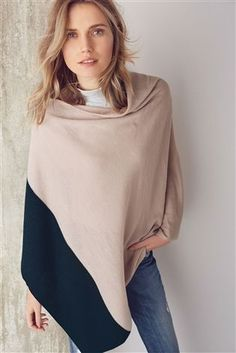 Buy Pink Colourblock Poncho from the Next UK online shop